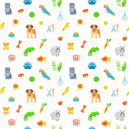 cat grooming: Animal pets grooming and care flat colorful seamless pattern. Simple bright background with scattered symbols of food, toys and accessories for domestic animals. Wrapping paper endless design