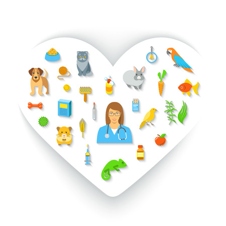 animal health: Animal pets grooming and health care flat colorful vector concept, in the shape of a heart. Simple bright symbols of pets, food, toys and accessories for domestic animals with a woman veterinarian