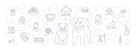cat grooming: Animal pets grooming and health care flat thin line vector horizontal  header banner. Background with linear icons of cat and dog, food, toys and accessories. Pet shop, vet clinic concept