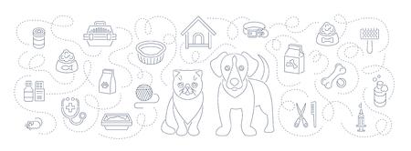 animaux animaux de toilettage et de soins de santé plat mince vecteur ligne en-tête horizontal bannière. Arrière-plan avec des icônes linéaires de chat et de chien, de la nourriture, des jouets et des accessoires. Pet shop, le concept vétérinaire de la clinique