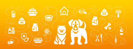 cat grooming: Animal pets grooming and health care vector flat horizontal header banner. Background with silhouettes icons of cat and dog, food, toys and accessories. Pet shop, vet clinic concept