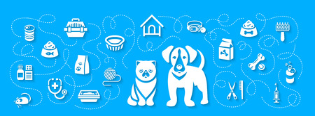 cat grooming: Animal pets grooming and health care vector flat horizontal header banner. Background with silhouettes icons of cat and dog, food, toys and accessories. Pet shop, vet clinic concept with shadows Illustration