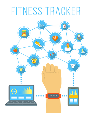 health technology: Fitness tracker flat vector infographic. Hand with bracelet wireless device for monitoring sport activity, burning of calories, distance, steps, heartbeat. Data exchange with computer and smartphone