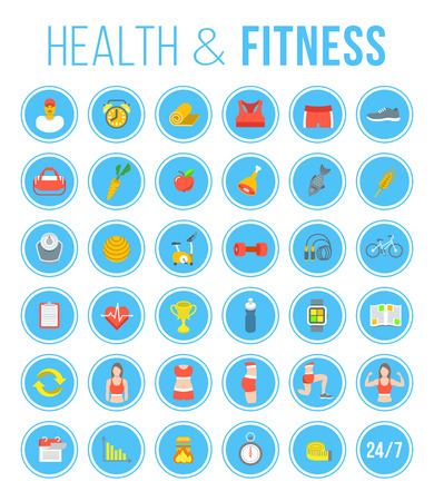 diet plan: Fitness gym and healthy lifestyle flat vector icons. Diet nutrition, shaping workout, fitness gear, personal trainer, sport clothes infographic elements. Exercises for different muscles of female body