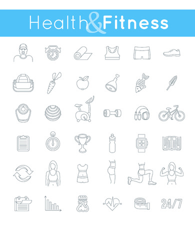 diet plan: Fitness gym and healthy lifestyle flat thin line vector icons. Diet nutrition, shaping workout, fitness gear, personal trainer, sport clothes infographic elements. Exercises for female body muscles