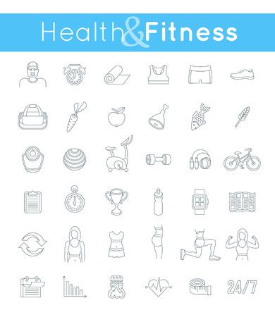 Fitnessruimte en een gezonde levensstijl vlakke dunne lijn vector iconen. Dieet voeding, het vormgeven van training, fitness toestel, personal trainer, sport kleren infographic elementen. Oefeningen voor het vrouwelijk lichaam spieren