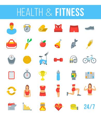 Fitnessruimte en een gezonde levensstijl plat vector iconen. Dieet voeding, het vormgeven van training, fitness toestel, personal trainer, sport kleren infographic elementen. Oefeningen voor de verschillende spieren van vrouwelijk lichaam Vector Illustratie