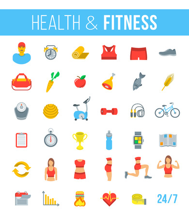 Fitness gym and healthy lifestyle flat vector icons. Diet nutrition, shaping workout, fitness gear, personal trainer, sport clothes infographic elements. Exercises for different muscles of female body