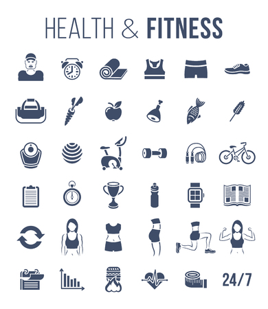 personal trainer: Fitness gym and healthy lifestyle flat silhouettes vector icons. Diet nutrition, shaping workout, fitness gear, personal trainer, sport clothes infographic elements. Exercises for female body muscles