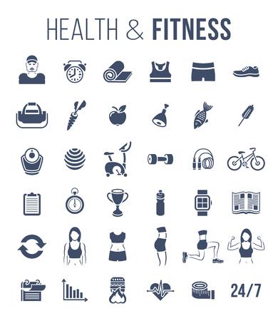 Fitness-Studio und einen gesunden Lebensstil flachen Silhouetten Vektor-Icons. Diätnahrung, Gestaltung Training, Fitnessgeräte, Personal Trainer, Sportkleidung Infografik Elemente. Übungen für die weibliche Körpermuskulatur
