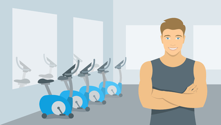 fitness center: Personal fitness trainer in the gym. Smiling young man sport instructor in a fitness room with exercise bikes. Promotional vector illustration of a sports club, a fitness center, individual training