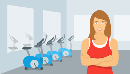 trainers: Personal fitness trainer in the gym. Smiling young woman sport instructor in a fitness room with exercise bikes. Promotional vector illustration of a sports club, a fitness center, individual training