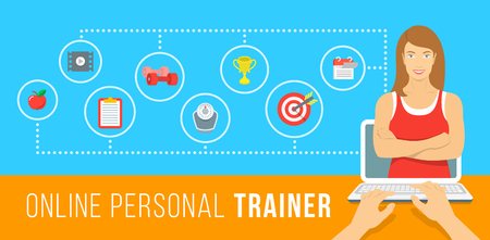 Online personal fitness trainer infographic vector illustration. Concept of web training with virtual instructor who gives advice on diet, workouts plan, healthy nutrition, weight loss, goals setting