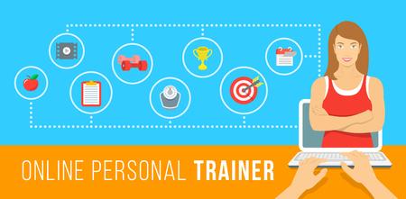 Online personal trainer ilustração infográfico vetor. Conceito de formação web com instrutor virtual, que dá conselhos sobre dieta, exercícios plano, nutrição saudável, perda de peso, definição de objectivos Ilustração