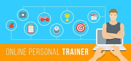 Ilustración vectorial infografía entrenador personal en línea. Concepto de capacitación en la Web con instructor virtual que da consejos sobre la dieta, los entrenamientos del plan, la nutrición saludable, pérdida de peso, el establecimiento de objetivos Foto de archivo - 51931679
