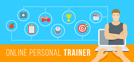 personal trainer: Online personal fitness trainer infographic vector illustration. Concept of web training with virtual instructor who gives advice on diet, workouts plan, healthy nutrition, weight loss, goals setting