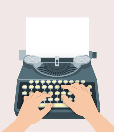 copywriting: Retro manual typewriter with printing hands of writer and sheet of paper. Vector flat illustration. Vintage background. Concept of blogging, book creating, journalism, storytelling, copywriting Illustration