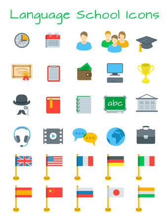 school icon: Language courses flat education icons. International communication in different languages. Foreign languages website design elements. Planning, cost, equipment for individual and group lessons