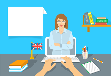 Online Internet language courses flat illustration. Foreign languages study at home using computer. English teacher with text box and book, notebook, a pen and the British flag on the table Vectores