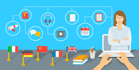 Online Internet language courses flat infographic element. Foreign languages study using computer. English teacher with education icons and flags of different countries standing on a table