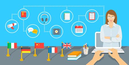 Online kursy językowe internetowe płaskim infografika elementów. Języki obce badaniu przy użyciu komputera. Nauczyciel języka angielskiego z ikonami edukacji i flagi różnych krajów stojących na stole