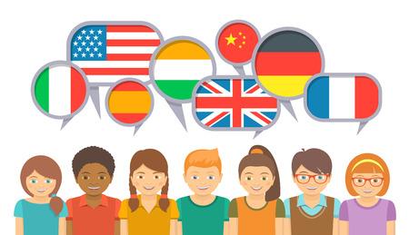 別の言語で国際通信。ふきだしやさまざまな国の国旗の語学学校に幸せな笑みを浮かべて子供。白い背景の上のフラットの図