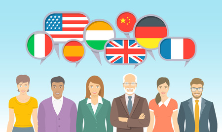 Foreign language school for adults. Group of different men and women with speech bubbles, flags of different countries. Business international communication flat illustration. Illustration