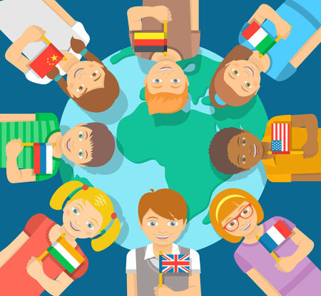 different: Smiling happy kids of different races around the Earth. Children hold flags of different countries. Childhood friendship worldwide. Flat illustration. International communication concept Illustration