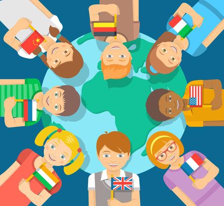 niños de diferentes razas: Sonriendo felices los niños de diferentes razas alrededor de la Tierra. Los niños tienen banderas de diferentes países. amistad de la infancia en todo el mundo. ilustración plana. concepto de la comunicación internacional