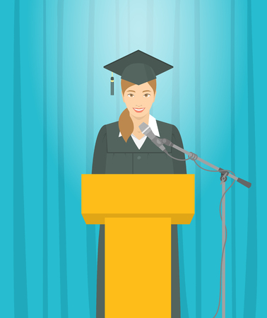 Graduation ceremony speech flat illustration. Young smiling Asian girl graduate in a gown and a mortarboard stands at a podium and gives a graduation speech. Academic education concept