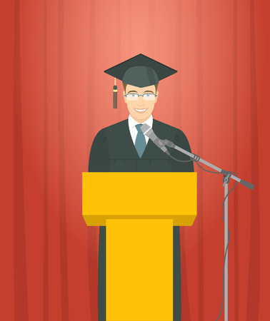mortarboard: Graduation ceremony speech flat illustration. Young smiling man graduate in a gown and a mortarboard stands at a podium and gives a graduation speech. Academic education concept