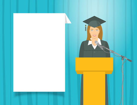 Graduation ceremony speech flat illustration. Young smiling  girl graduate in a gown and a mortarboard stands at a podium and gives a graduation speech. Academic education concept with text box