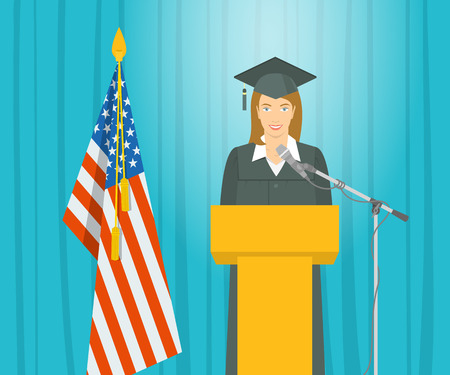 mortarboard: Graduation ceremony speech flat illustration. Young smiling  girl in a gown and a mortarboard stands at a podium near the American flag and gives ceremonial speech. Academic education concept