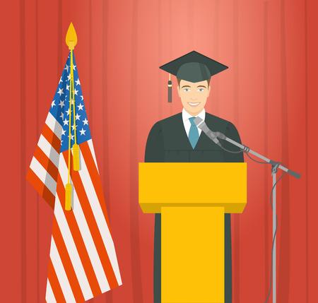toga y birrete: ceremonia discurso de graduación plana ilustración. Hombre sonriente joven licenciado en bata y birrete se sitúa en el podio cerca de la bandera de Estados Unidos y da discurso ceremonial. concepto de la educación académica Vectores
