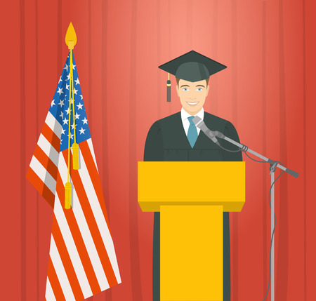mortarboard: Graduation ceremony speech flat illustration. Young smiling man graduate in gown and mortarboard stands at podium near the American flag and gives ceremonial speech. Academic education concept Illustration