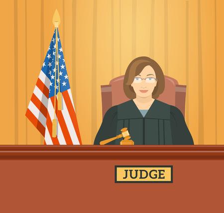 Rechter vrouw in het gerechtsgebouw in tribunaal met hamer en de vlag van de Verenigde Staten. Civiele en strafzaken openbaar proces. flat illustratie. Wet en Rechtvaardigheid conceptuele banner