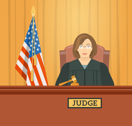 Judge woman in courthouse at tribunal with gavel and flag of USA. Civil and criminal cases public trial. flat illustration. Law and justice conceptual banner