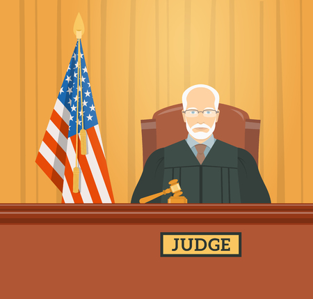 Judge man in courthouse at tribunal with gavel and flag of USA. Civil and criminal cases public trial. flat illustration. Law and justice conceptual banner. Stock Illustratie