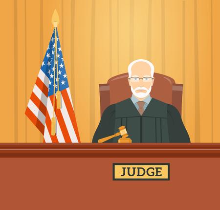 Rechter man in gerechtsgebouw in tribunaal met hamer en de vlag van de Verenigde Staten. Civiele en strafzaken openbaar proces. flat illustratie. Recht en rechtvaardigheid conceptuele banner.