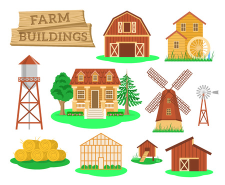 hangar: Farm buildings and constructions flat infographic vector elements set. Icons of farmer house, barn, windmill, water mill, greenhouse, water tower etc. Agriculture industry and countryside life objects