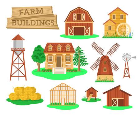 Landwirtschaftliche Gebäude und Konstruktionen flach Infografik Vektor-Elemente. Ikonen des Bauernhaus, Scheune, Windmühle, Wassermühle, Gewächshaus, Wasserturm usw. Landwirtschaft Industrie und Landleben Objekte Vektorgrafik