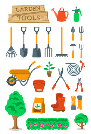 objects equipment: Gardening and farming instruments and tools flat vector icons set. Cartoon infographic elements of agriculture equipment and plants cultivation hobby activity objects. Isolated on white Illustration