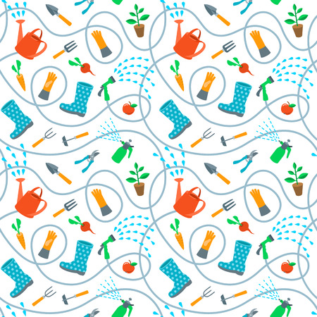 gardening hose: Gardening tools and fruits flat seamless pattern. Cute cartoon repeating endless background with scattered colorful objects and wriggling hose on white backdrop. Plants growing and soil cultivation Illustration