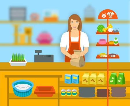 Pet shop seller at a counter in a store opposite shelves with pets care goods. Flat vector illustration. Small business owner at work concept. Accessories for animals care, food, cage, collars, etc.