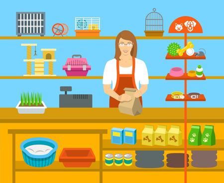 shop for animals: Pet shop seller at a counter in a store opposite shelves with pets care goods. Flat vector illustration. Small business owner at work concept. Accessories for animals care, food, cage, collars, etc.