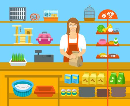 store: Pet Shop venditore per un contatore in un negozio scaffali opposti con animali domestici cura merci. illustrazione vettoriale piatto. Piccolo imprenditore al concetto di lavoro. Accessori per la cura degli animali, cibo, gabbia, collari, ecc Vettoriali