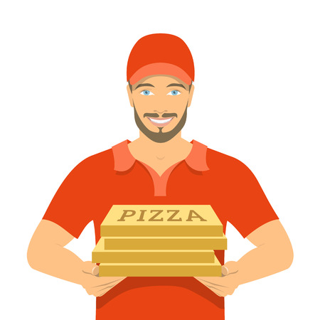 Pizza delivery boy holding cardboard boxes. Vector flat illustration. Handsome friendly young man in a red T-shirt and uniform cap. Express delivery concept, isolated on white
