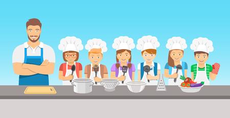 Enfants cours de cuisine illustration plat. Groupe heureux amusement des enfants, des garçons et des filles dans toques et tabliers avec matériel de cuisine, cuire les aliments avec un adulte. éducation culinaire partie avec l'homme enseignant