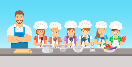 culinary skills: Kids cooking class flat illustration. Group of happy fun children, boys and girls in chef hats and aprons with kitchen equipment, cook food with an adult.  Culinary education party with man teacher