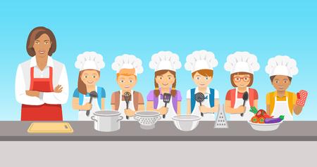 Enfants cours de cuisine illustration plat. Groupe heureux amusement des enfants, des garçons et des filles dans toques et tabliers avec matériel de cuisine, cuire les aliments avec un adulte. éducation culinaire partie avec le professeur de femme Vecteurs